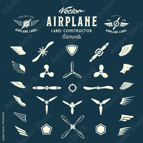 Abstract Vector Airplane Labels or Logos Construction Elements Wallpaper Mural