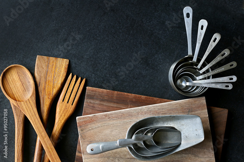 Fotografie, Obraz  Vintage Silver and Wooden Baking Supplies Border