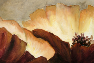 Painting close up texture poppies