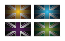 A Set Of Four Abstract Uk Flags