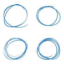 Scribble Circles Four Blue Colored On A White Background