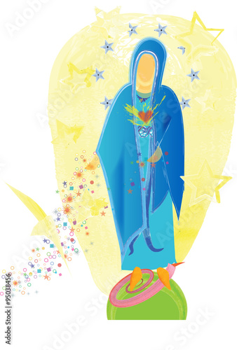 Abstract Simple Modern Drawing Of Virgin Mary The Immaculate