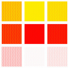 Fototapeta Popart Duotone, red, yellow pop art, polka dot, dotted pattern.