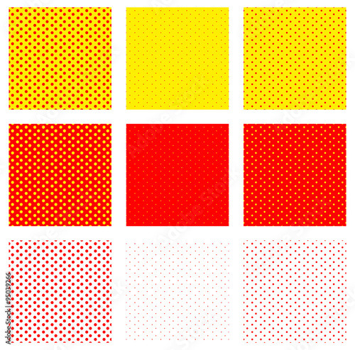 Foto op Plexiglas Pop Art Duotone, red, yellow pop art, polka dot, dotted pattern.