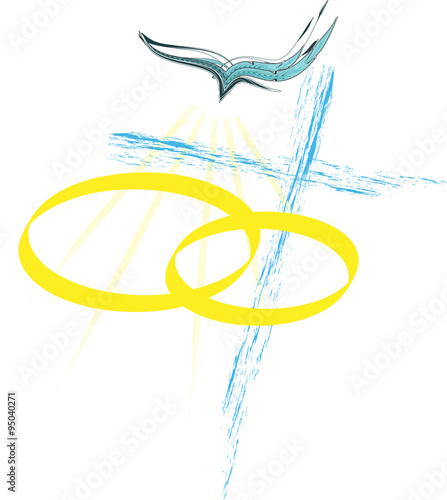 Sacrament of matrimony, christian marriage illustration with