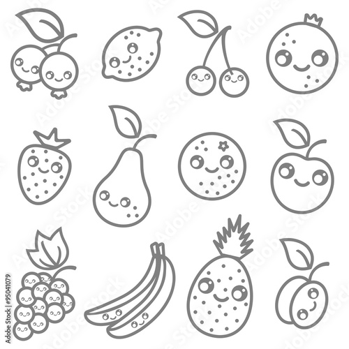 fruits in kawaii style Poster