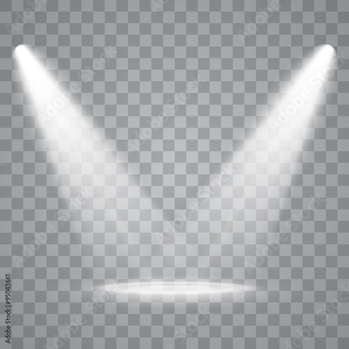 Tuinposter Licht, schaduw Vector Spotlights. Scene. Light Effects.