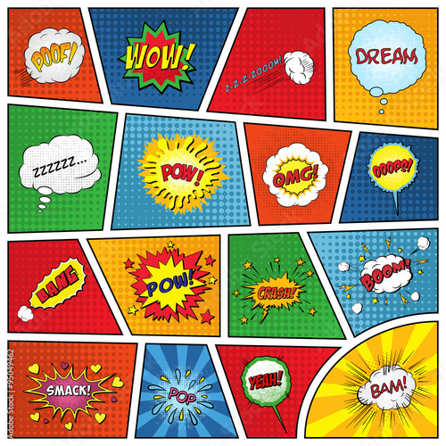 Keuken foto achterwand Pop Art Set of comic sound effects