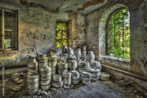 Piles of clay moulds at an abandoned ceramics factory - Buy