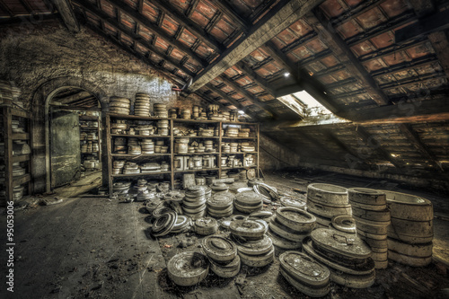 Clay moulds in attic of an abandoned ceramics factory - Buy
