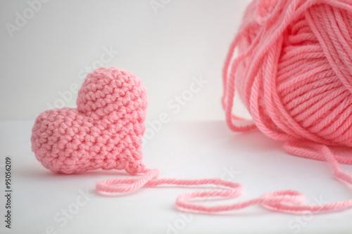 Fotografie, Obraz  Adorable little heart crocheted by hand