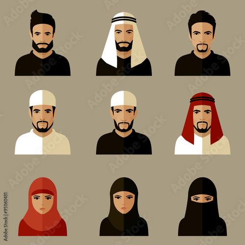 Cuadros en Lienzo vector illustration, arabic people, arab woman, arabian man