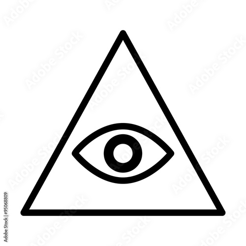Fotografia, Obraz  Eye of providence or all-seeing eye of God line art icon for apps and websites