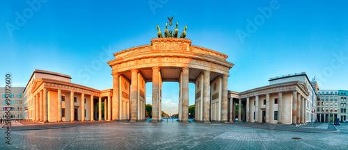 Poster Berlin Panorama of Brandenburg Gate during the sunrise in Berlin, Germa