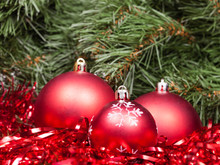 Three Red Christmas Baubles, T...