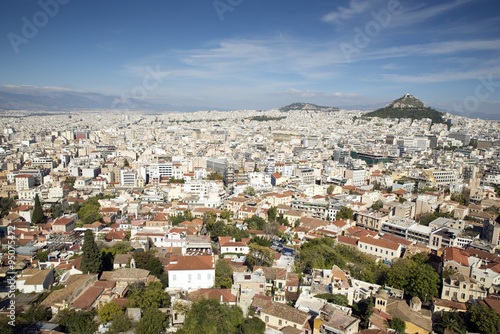 In de dag Athene View of Athens from the Acropolis,