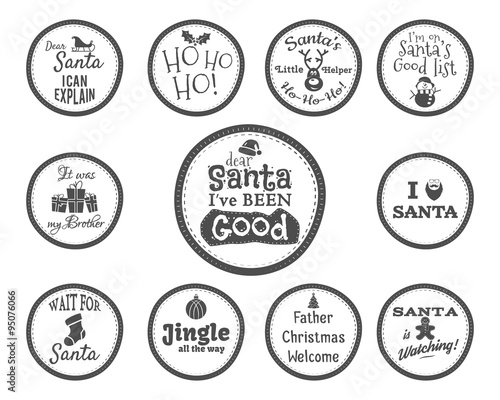 Christmas Badge and Design Elements with funny signs, quotes for ...