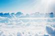 Leinwandbild Motiv Aerial view on white fluffy clouds