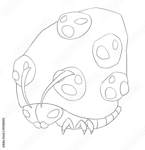 Fényképezés  Mountain Bug Line Art - Creature Design