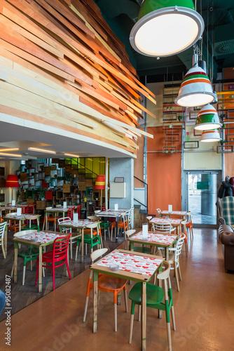 Foto auf AluDibond Gezeichnet Straßenkaffee Restaurant interior