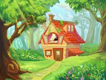 Forest Cottage - Illustration For Children
