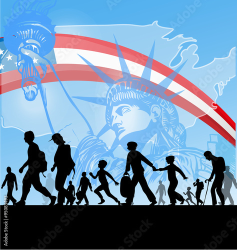 Photo immigration people on usa flag