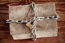 Old Book With Chain And Padlock