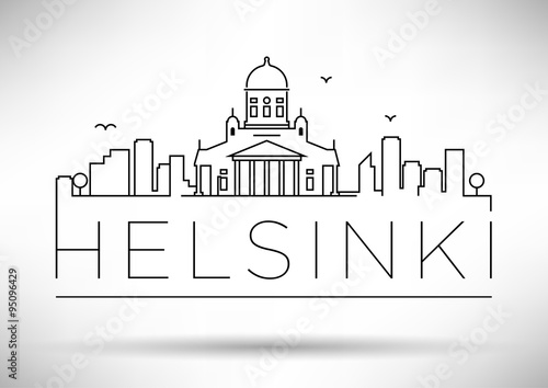Fotografia, Obraz Linear Helsinki City Silhouette with Typographic Design
