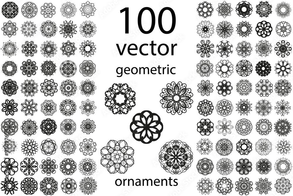 Fototapeta 100 Set abstract geometric mandala round ornament