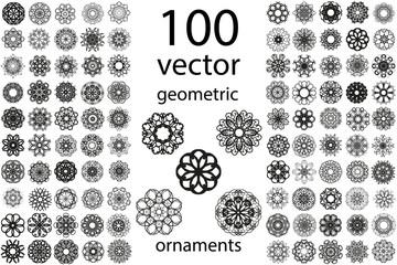 100 Set abstract geometric mandala round ornament