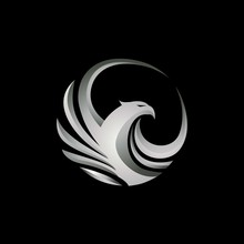 Modern Metalic Silver 3D Style Eagle Clipart Icon Vector