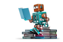 Retro Robot Reading A Book. Isolated. Contains Clipping Path