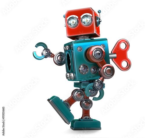 Photo  Retro Robot wound up with a key. Isolated. Contains clipping path