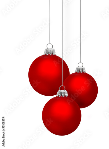 Rote Christbaumkugeln.Drei Rote Christbaumkugeln Buy This Stock Photo And