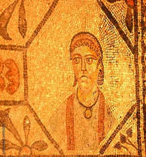 Fotografie, Obraz  Ancient roman mosaic of a person