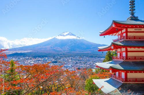 Fototapety, obrazy: 紅葉と富士山(新倉山浅間公園)