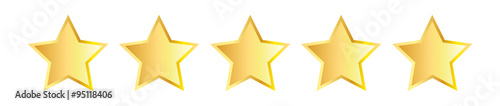 Photographie  Five golden stars  Vector illustration isolated on white background