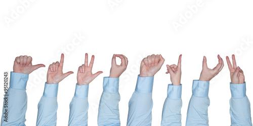 Valokuva  Frauenarm zeigt eine Geste