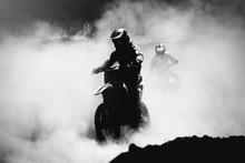 Motocross Racer Accelerating In Dust Track, Black And White, Hig