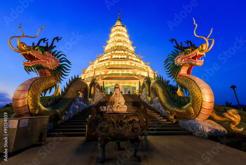 Photo Stands Dark blue Landmark Temple wat hyua pla kang (Chinese temple) Chiang Rai, T
