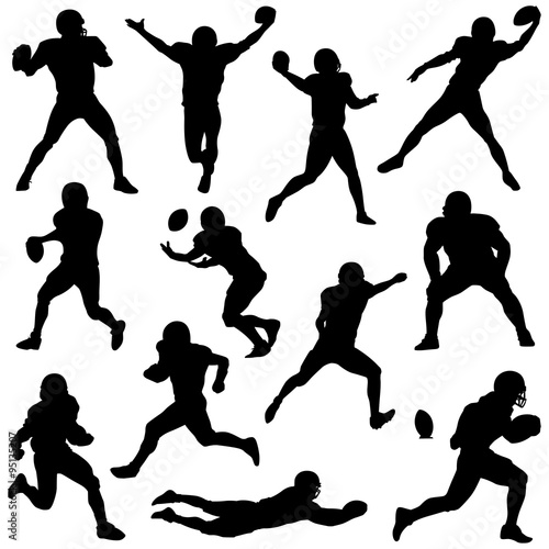 Fotografie, Obraz  various football players in silhouette vectors