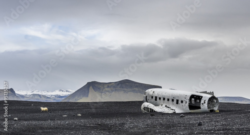 Flugzeugwrack auf Island Wallpaper Mural
