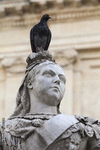 Stampa su Tela sculpture of Queen Victoria with pigeon in capital of Malta- Valletta, Europe