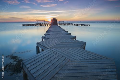 Panorama of Mar Menor lagoon, from Los Alcazares, Murcia, Spain