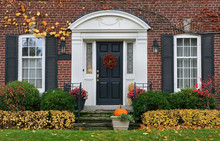 House Front Door In Fall
