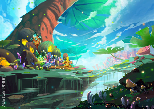 Illustration A Fantastic Wonderland With Giant Tree