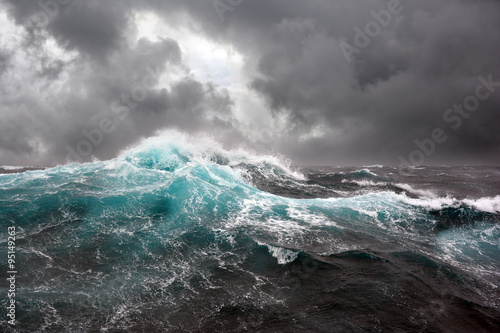Poster Ocean sea wave and dark clouds on background