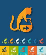 Flat Design. Cat And Aquarium