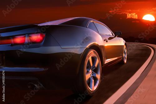 fototapeta na lodówkę Auto im Sonnenuntergang