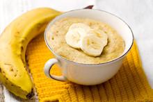 Banana Mug Cake Prepared In Microwave